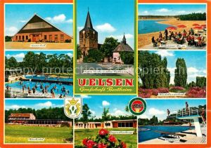 AK / Ansichtskarte Uelsen Reiterhof Waldbad Kurhotel Kirche Rathaus Jugendherberge Wilsumer Berge See Heidelandschaft Uelsen