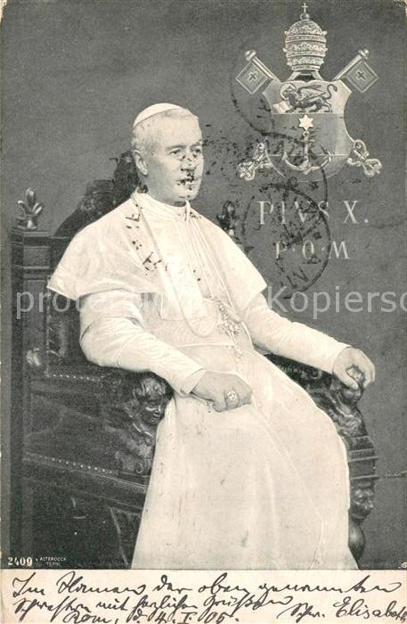 AK / Ansichtskarte Papst Pius X.  Papst