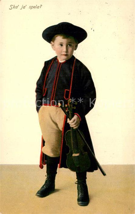 AK / Ansichtskarte Kinder_Child_Enfants Tracht Schweden Geige  Kinder_Child_Enfants