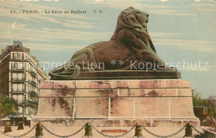 AK / Ansichtskarte Paris Lion de Belfort  Paris