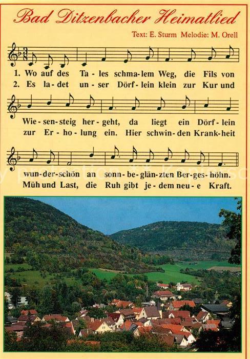 AK / Ansichtskarte Ditzenbach_Bad Panorama Heimatlied Ditzenbach_Bad