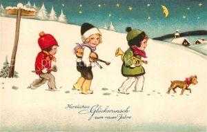 AK / Ansichtskarte Neujahr Kinder Hund Geige Trompete Litho  Neujahr