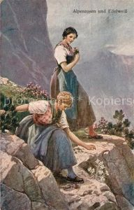 AK / Ansichtskarte Edelweiss Alpenrosen Frauen  Edelweiss