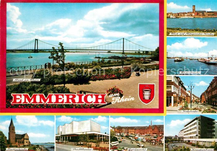 AK / Ansichtskarte Emmerich_Rhein Martinikirche Stadttheater Rheinbruecke Aldegundis Kirche Krankenhaus Emmerich Rhein