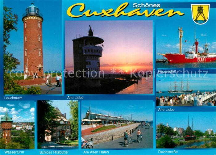 AK / Ansichtskarte Cuxhaven_Nordseebad Leuchtturm Alte Liebe Feuerschiff Wasserturm Schloss Ritzbuehel Cuxhaven_Nordseebad