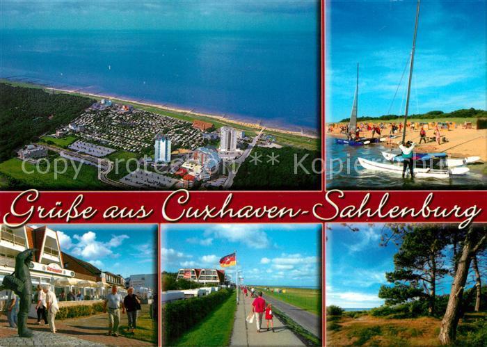 AK / Ansichtskarte Sahlenburg Fliegeraufnahme Strand Uferpromenade Denkmal  Sahlenburg