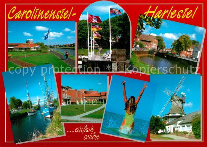 AK / Ansichtskarte Carolinensiel Harlesiel_Ostfriesland Muehle Hafen Stadtansichten Carolinensiel Harlesiel