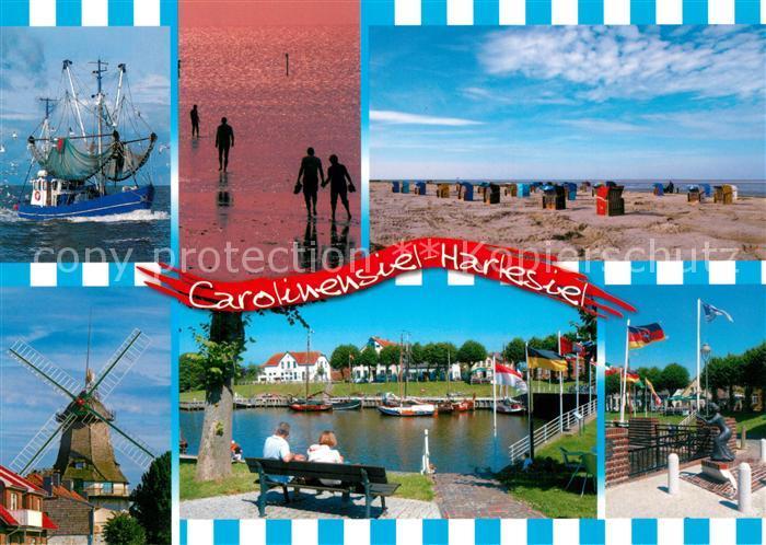 AK / Ansichtskarte Carolinensiel Harlesiel_Ostfriesland Muehle Fischkutter Strand Bootsanleger Carolinensiel Harlesiel