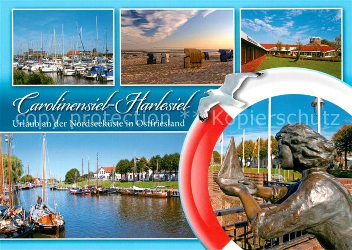 AK / Ansichtskarte Carolinensiel Harlesiel_Ostfriesland Yachthafen Denkmal Strandkoerbe Carolinensiel Harlesiel