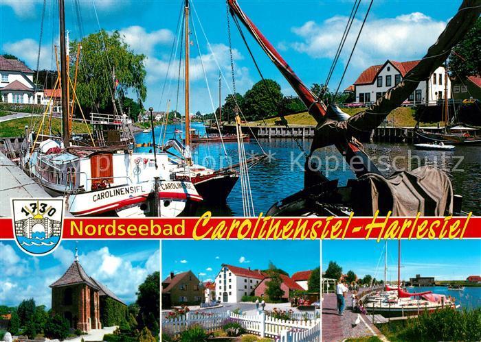 AK / Ansichtskarte Carolinensiel Harlesiel_Ostfriesland Hafen Panorama Carolinensiel Harlesiel
