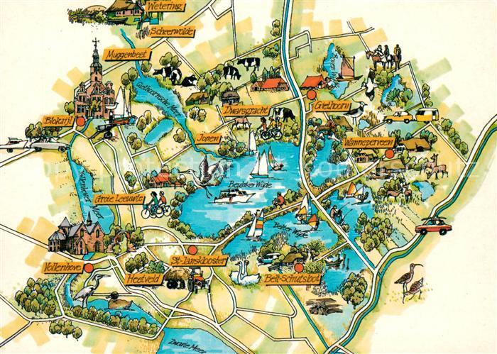 Giethoorn Karte.Ak Ansichtskarte Giethoorn Und Umgebung Landkarte Giethoorn