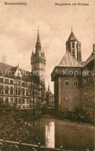 AK / Ansichtskarte Braunschweig Burggraben mit Rathaus Braunschweig