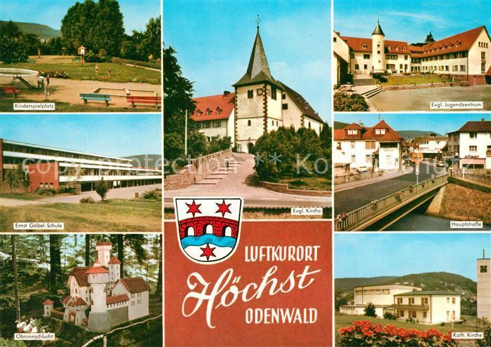 AK / Ansichtskarte Hoechst_Odenwald Evangelische Kirche Hauptstrasse Katholische Kirche Hoechst_Odenwald