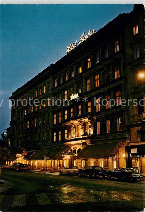 AK / Ansichtskarte Wien Hotel Sacher Nachtaufnahme Wien