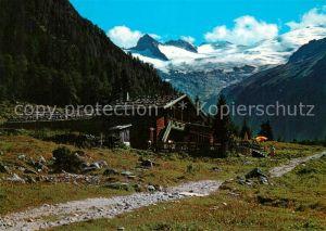 AK / Ansichtskarte Habachtal Alpengasthof Enzian mit Habachkees und Schwarzkopf Habachtal