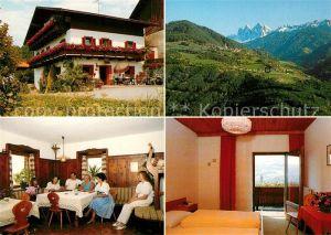 AK / Ansichtskarte Teis_Nafen_Villnoess Gasthof Brunner Hof Gastraum Fremdenzimmer Landschaftspanorama Alpen