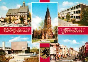AK / Ansichtskarte Frechen Rathaus Kirche Gymnasium Hallenbad Hauptstrasse Wappen Frechen