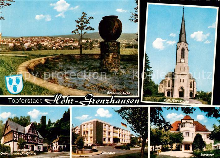 AK / Ansichtskarte Hoehr Grenzhausen Gesamtansicht Gedenkstein Kirche Kurhotel Rathaus Grenzau Burgruine Hoehr Grenzhausen