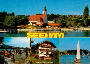 AK / Ansichtskarte Seeham Gasthof Entenwirt Obertrumer See Kirche Strand Segelboote Seeham