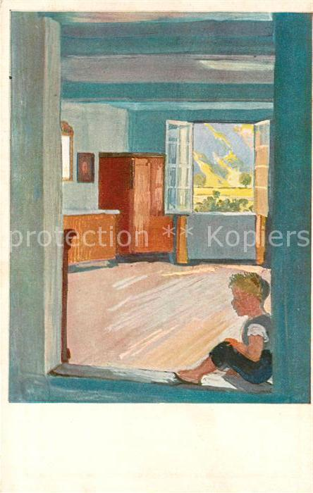 AK / Ansichtskarte Kuenstlerkarte Albert Welti Der Bub in der Tuere  Kuenstlerkarte