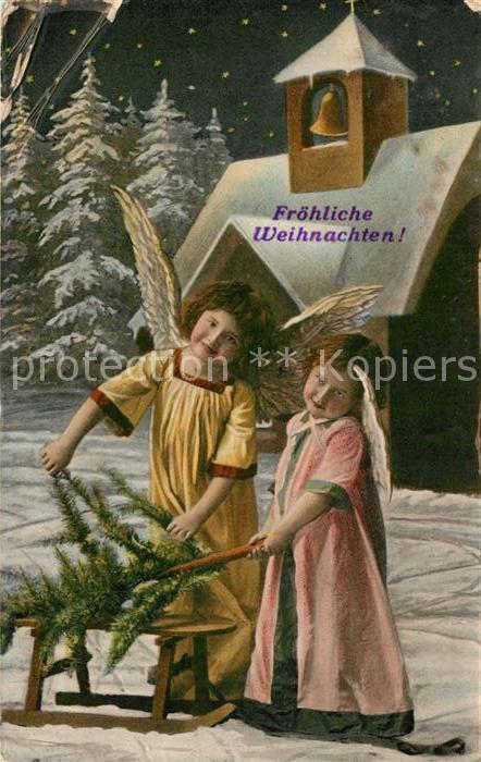 AK / Ansichtskarte Weihnachten Engel Schlitten  Weihnachten