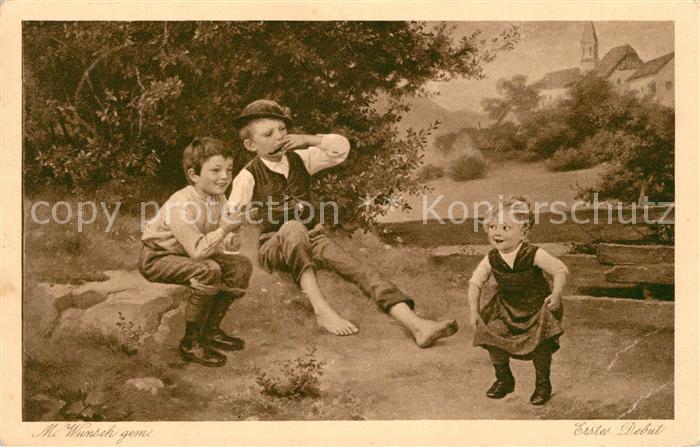 AK / Ansichtskarte Kuenstlerkarte M. Wunsch Erstes Debut Kinder Verlag Wiechmann Nr. 18 Kuenstlerkarte