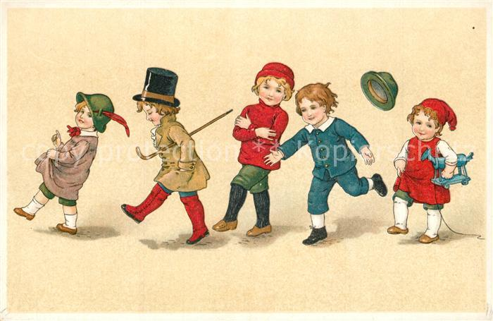 AK / Ansichtskarte Kinder_Child_Enfants Zylinder Rollpferd Zipfelmuetze Litho Kinder_Child_Enfants