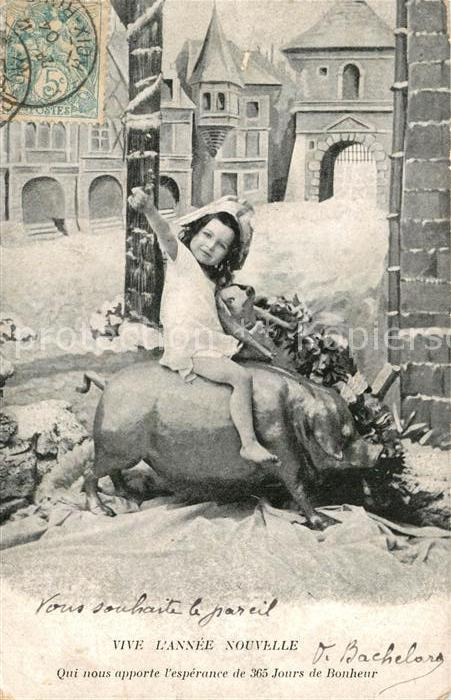 AK / Ansichtskarte Neujahr Kind Schwein  Neujahr