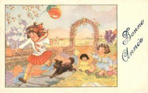 AK / Ansichtskarte Neujahr Kinder Hund Puppen Luftballons Neujahr