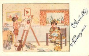 AK / Ansichtskarte Neujahr Kinder Kinderspielzeug Staffelei Maler Hund Puppen Teddybaer Neujahr