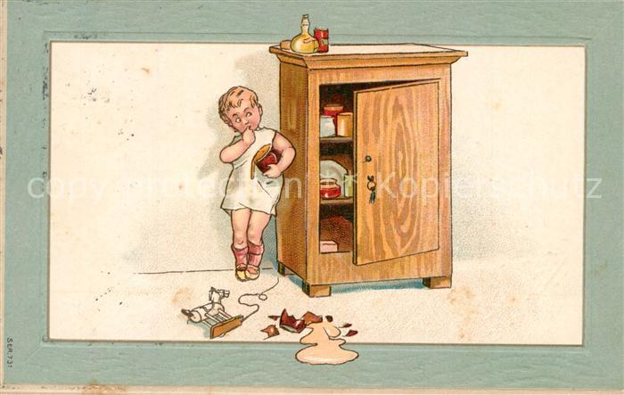 AK / Ansichtskarte Kinder_Child_Enfants Schrank Honig Rollpferd Litho  Kinder_Child_Enfants