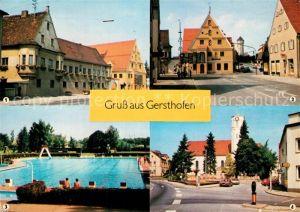 AK / Ansichtskarte Gersthofen Rathaus Kreuzung mit Wasserturm Freibad Jakobskirche Kirchplatz Gersthofen