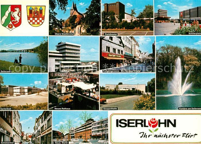 AK / Ansichtskarte Iserlohn Seilersee Gartenbad Markt Fontaene Eissporthalle Schillerplatz Theater Iserlohn