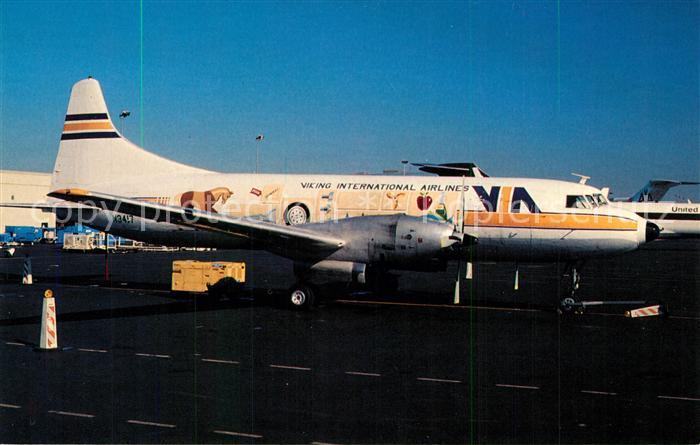 AK / Ansichtskarte Flugzeuge_Zivil Viking International Airlines Convair CV 640 N3417 MSN 48 Flugzeuge Zivil