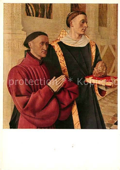 AK / Ansichtskarte Kuenstlerkarte Jean Fouquet Estienne Chevalier Heiliger Stephan Kuenstlerkarte