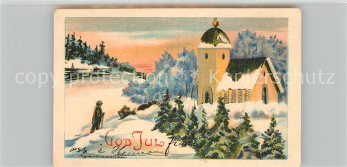 AK / Ansichtskarte Weihnachten Kirche God Jul  Weihnachten