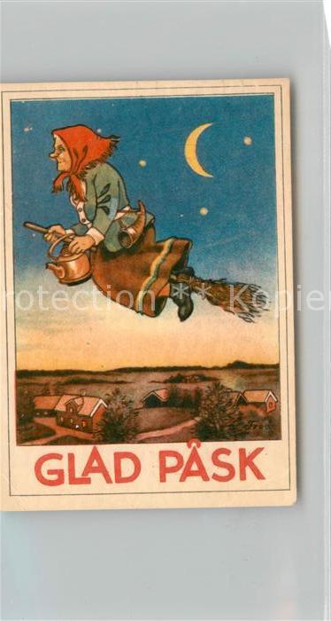 AK / Ansichtskarte Hexe Ostern Teekanne Horn  Hexe