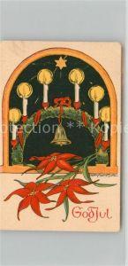 AK / Ansichtskarte Weihnachten Weihnachtsstern Kerzen Glocke  Weihnachten