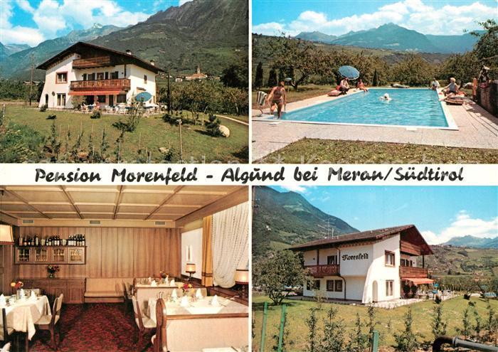 AK / Ansichtskarte Algund_Merano Pension Villa Morenfeld Swimming Pool Landschaftspanorama Alpen Algund Merano