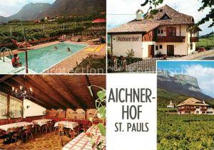 AK / Ansichtskarte St_Pauls_Eppan Hotel Garni Aichnerhof Swimming Pool Landschaftspanorama Alpen St_Pauls_Eppan