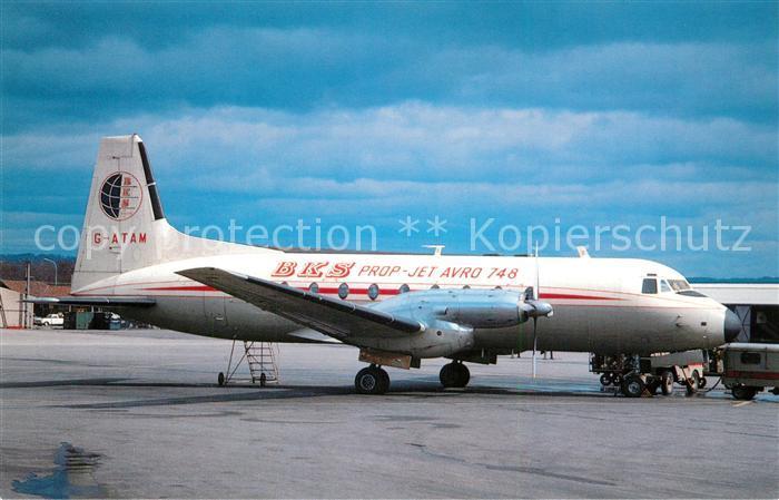 AK / Ansichtskarte Flugzeuge_Zivil BKS Hawker Siddeley 748 214 G ATAM c n 1576 Flugzeuge Zivil