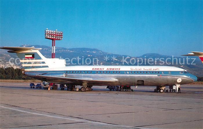 AK / Ansichtskarte Flugzeuge_Zivil Kuwait Airways Hawker Siddeley 121 Trident 1E 9K ACF c n 2114 Flugzeuge Zivil