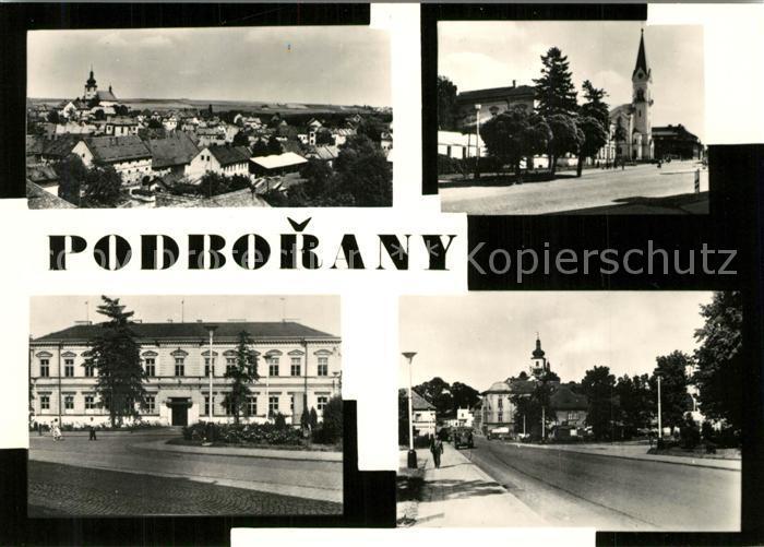 AK / Ansichtskarte Podborany Teilansichten Gebaeude Strassenpartie Kirche Podborany