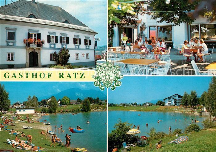 AK / Ansichtskarte Kirschentheuer Gasthof Ratz Terrasse Badestrand See Kirschentheuer
