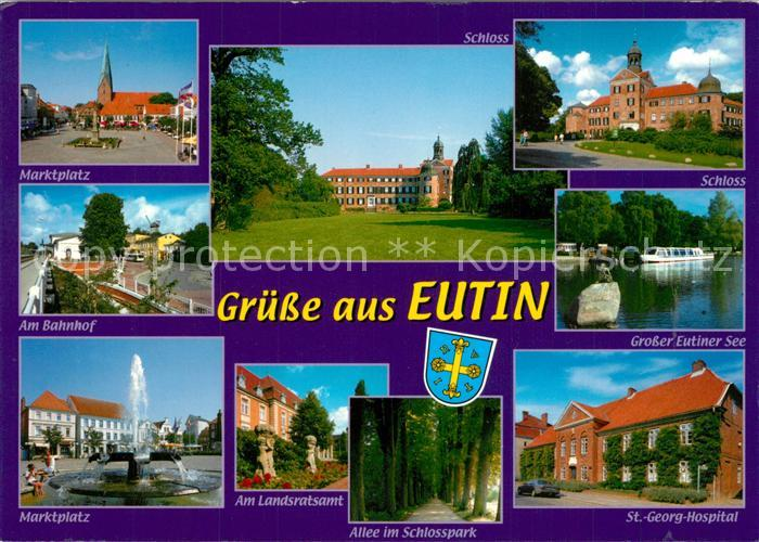 AK / Ansichtskarte Eutin Marktplatz Schloss Grosser Eutiner See Bahnhof Marktplatz Landratsamt Eutin