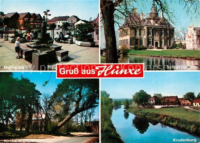 AK / Ansichtskarte Huenxe Marktplatz Schloss Gartrop Kirche Drevenack Krudenburg Huenxe