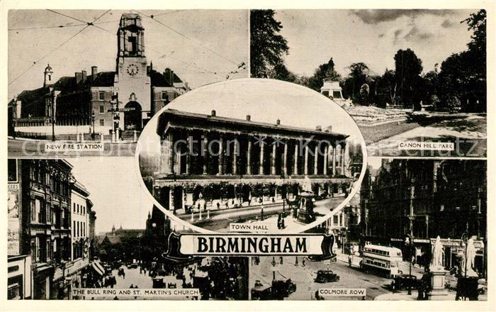 AK / Ansichtskarte Birmingham New Fire Station Canon Hill Park Town Hall Birmingham