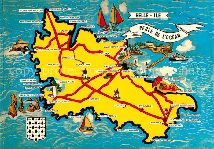 Belle Ile en Mer Landkarte Insel Belle Ile en Mer