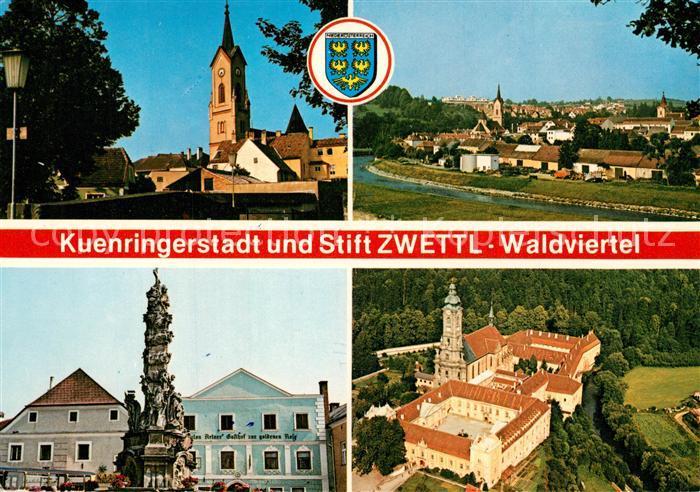 Zwettl Niederoesterreich Kuenringerstadt Dreifaltigkeitssaeule Stift Zisterzienserkloster Fliegeraufnahme Zwettl Niederoesterreich
