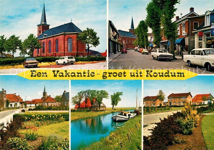 Koudum Kirche Strassenpartie Kanal Koudum